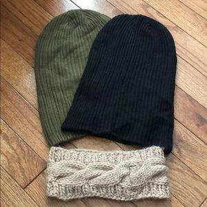 2 beanies and headband!